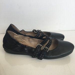 Miz Mooz Black Leather Ballet Flats Shoes